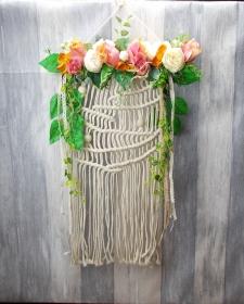 Wandbehang, beige, mit Blüten, Traumfänger - Handarbeit kaufen