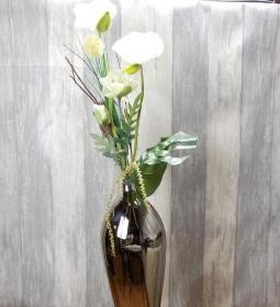 Gesteck, silberne Vase, Wohndekoration, Tischdekoration - Handarbeit kaufen