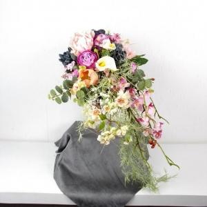 großer Brautstrauß künstlich, fließender Strauß, Rosen, Hochzeitsaccessoires, hängend, Braut Strauss - Handarbeit kaufen