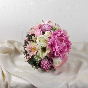 Brautstrauß künstlich, rosa creme, Hochzeitsaccessoires, Braut Strauss, Brautbouquet - Handarbeit kaufen