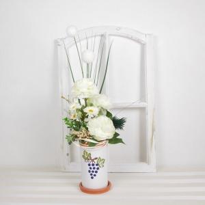 Tischgesteck in weiß, mit Weintrauben Motiv, Tischdekoration, Frühlingsdeko - Handarbeit kaufen