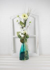 Tischgesteck in creme in Glasvase, Frühlingsgesteck, Tischdekoration, Frühlingsdeko - Handarbeit kaufen