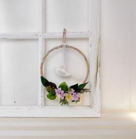 Fensterhänger, Reif mit Schwalbe, Vogel, Türkranz, Fensterschmuck - Handarbeit kaufen