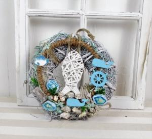 Türkranz maritim, blau weiß, mit Fisch, Kranz, Sommerdeko - Handarbeit kaufen