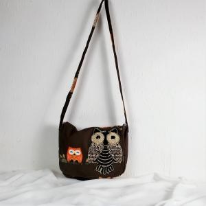 Handgenähte Tasche aus Baumwoll Stoff in braun bunt mit großem Eulenmotiv.groß,Handtasche,Aktentasche