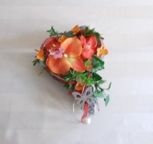 Grabgesteck Herz, Orchidee, Grabschmuck, Allerheiligengesteck, Trauerfloristik, Trauergesteck, - Handarbeit kaufen