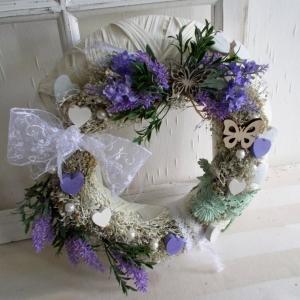 Türkranz weiß, Lavendel, Kranz, ganzjährig, Landhaus - Handarbeit kaufen