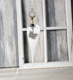 Fensterdeko, Hänger, Holzherz modern, länglich weiß, Türkranz - Handarbeit kaufen