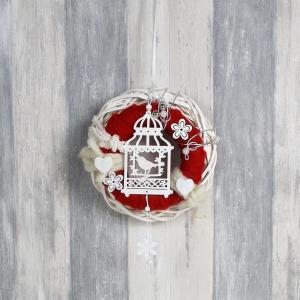Türkranz Landhaus Stil, weiß rot mit Vogelhäuschen - Handarbeit kaufen