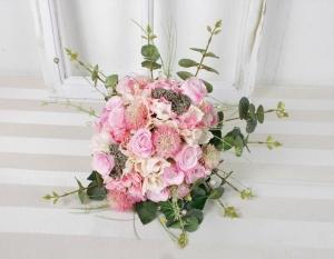 Brautstrauß künstlich, weiß grün, Rosen und Gerbera, Brautbouquet - Handarbeit kaufen