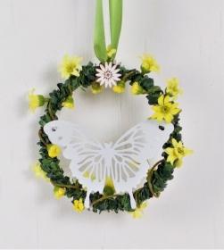 Fensterdeko, grüner Kranz mit weißem Schmetterling, Hänger - Handarbeit kaufen