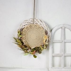 Türkranz mit Trockenblumen und Traumfänger, Boho Stil - Handarbeit kaufen