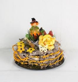 Herbstliche Tischdeko mit süßer Vogelscheuche, Herbstdeko, Gartendeko - Handarbeit kaufen