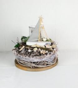 Tischdeko maritim mit Schiff und Muscheln, Sommerdeko, Tischgesteck - Handarbeit kaufen