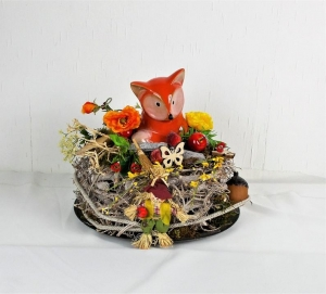 Herbstliche Tischdeko mit süßem Fuchs und kleiner Vogelscheuche, rot Töne, Herbstdeko, Gartendeko - Handarbeit kaufen