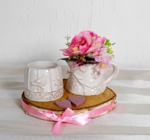 Tischdeko mit Kratzschutz, romantisch im Landhaus Stil mit Teelichthalter und rosa Blumen - Handarbeit kaufen