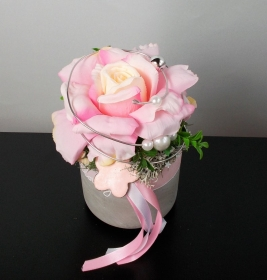 Tischdeko modern, rosa Rose, elegant, Tischgesteck - Handarbeit kaufen