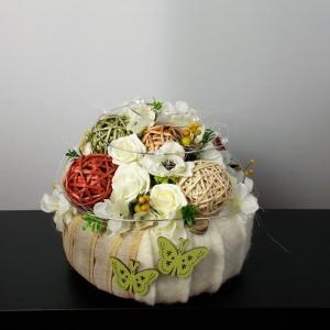 Tischdeko modern, creme, Torte, elegant, Tischgesteck - Handarbeit kaufen