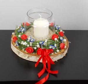 Tischdeko, Windlicht auf Baumscheibe, rot, Tischgesteck - Handarbeit kaufen