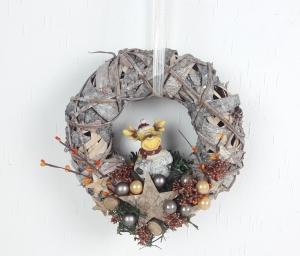 Weihnachtskranz, Türkranz Weihnachten, mit süßem Elch, Weihnachtsdeko - Handarbeit kaufen
