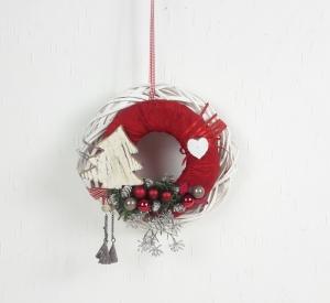 Türkranz Weihnachten, rot weiß mit Baum, Fensterdeko, Wohndeko, Kranz - Handarbeit kaufen