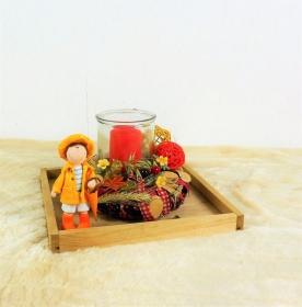 Tischgesteck, herbstlich mit Windlicht und süßer Figur, Tischdeko Herbst, Herbstdeko - Handarbeit kaufen