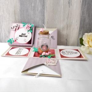 Explosionsbox Hochzeit, Geldgeschenk, Hochzeit, Hochzeitsgeschenk, Pop up Box, lila rosa - Handarbeit kaufen