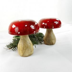 Weihnachtsdeko 2er Set Pilze aus Holz, Tischdeko Weihnachten, Stück € 4,90, Material - Handarbeit kaufen