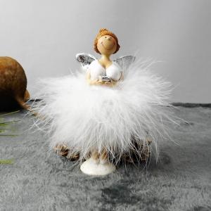 Weihnachtsdeko Engel mit Federröckchen weiß, Tischdeko Adventsdeko, Material