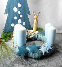 Adventskranz blau, Adventsgesteck, Weihnachten, Adventsdeko, Weihnachtsdeko