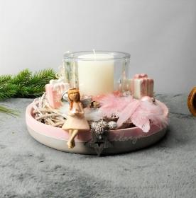 Adventsgesteck grau rosa weiß, Adventskranz modern, verspielt romantisch, Weihnachtsdeko