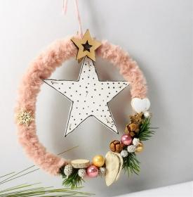 Weihnachtsdeko Fensterdeko, Ring rosa weiß mit Stern, Adventsdeko - Handarbeit kaufen