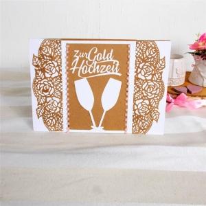 Hochzeitskarte, Karte zur Hochzeit, Sektkelche, Glückwunschkarte zur Hochzeit, Kraftpapier-weiß, DIN A 5 Format  - Handarbeit kaufen