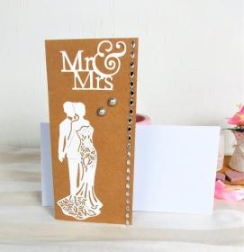 Hochzeitskarte, Karte zur Hochzeit, Brautpaar, Glückwunschkarte zur Hochzeit, Kraftpapier-weiß, DIN Lang - Handarbeit kaufen