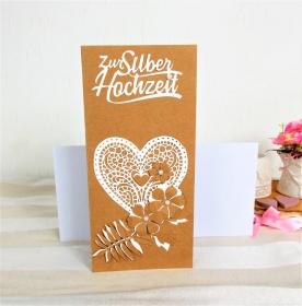 Hochzeitskarte, Karte zur Hochzeit, Herz, Glückwunschkarte zur Hochzeit, Kraftpapier-weiß, DIN Lang  - Handarbeit kaufen
