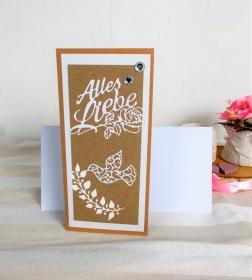 Hochzeitskarte, Karte zur Hochzeit, Alles Liebe, Glückwunschkarte zur Hochzeit, Kraftpapier-weiß, DIN Lang  - Handarbeit kaufen