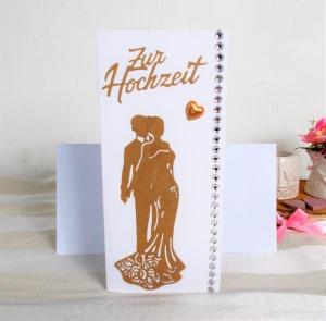 Hochzeitskarte, Karte zur Hochzeit, Zur Hochzeit, Glückwunschkarte zur Hochzeit, Kraftpapier-weiß, DIN Lang  - Handarbeit kaufen
