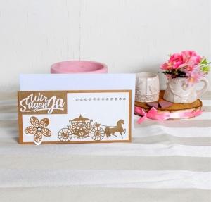 Hochzeitskarte, Karte zur Hochzeit, Kutsche, Glückwunschkarte zur Hochzeit, Kraftpapier-weiß, DIN Lang   - Handarbeit kaufen