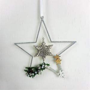 Weihnachtsdeko Fensterdeko Stern silber farbig - Handarbeit kaufen