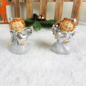 Weihnachtsdeko Engel silberfarben 2er Set, Tischdeko, Stückpreis 3,00 Euro - Handarbeit kaufen