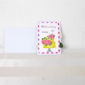Glückwunschkarte, Grußkarte, Geburtstag, modern, Torte
