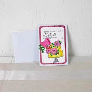Glückwunschkarte, Grußkarte, Geburtstag, modern, Torte und Schmetterling