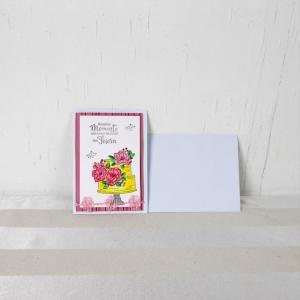 Glückwunschkarte, Grußkarte, Geburtstag, handcoloriert, Torte