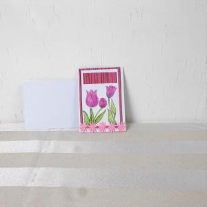 Glückwunschkarte, Grußkarte, Geburtstag, handcoloriert, Tulpen