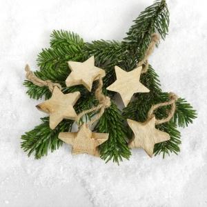 Weihnachtsdeko 5er Set Holzsterne, Tischdeko Weihnachten, Stückpreis 70 Cent, Christbaumschmuck - Handarbeit kaufen