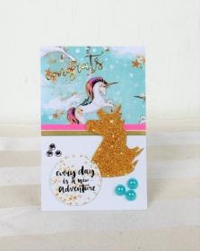 Glückwunschkarte, Grußkarte, Geburtstag, Einhorn, Nr. 8 - Handarbeit kaufen