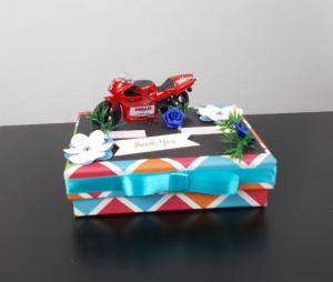 Geldgeschenk Box Dankeschön, Motorrad, rot bunt, Motorsport, Geburtstagsgeschenk - Handarbeit kaufen