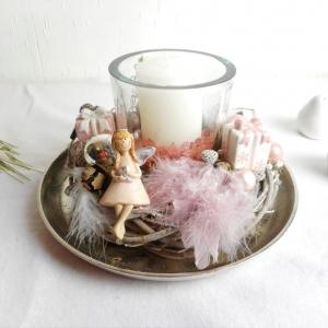 Tischdeko mit Engel, Winterdeko, Windlicht, Tischkranz, Wohndeko, edel - Handarbeit kaufen