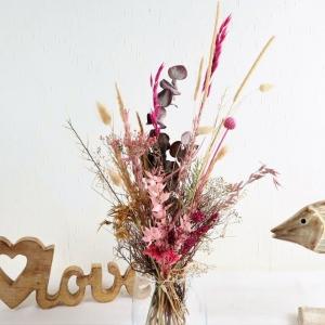 Trockenblumenstrauß rosa-gold-naturfarbig, Trockenblumen - Handarbeit kaufen