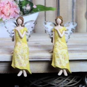 Frühlingselfe, Elfe, Frühlingsdeko, Figur, gelb, Kantenhocker, elegant, Floristikdeko - Handarbeit kaufen